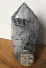 UK NEW NATURAL WHITE CLEAR QUARTZ WITH TOURMALINE CRYSTAL CLUSTER POINT OBELISK