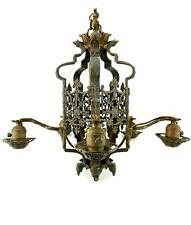 Antique Art Nouveau/Deco Gothic Cast Brass Iron Chandelier Ceiling Light Fixture