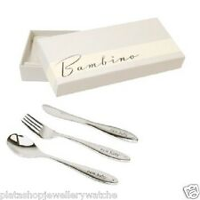 Baby Silver Plated New Baby Knife Fork Spoon Set  Present Gift Free Engraving
