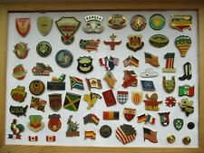 AMERICAN ARMY MILITARY CREST SHIELDS WORLD FLAGS 62 PIN BADGE JOB LOT BUNDLE 99p