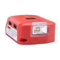 For Milwaukee 14.4/18v Battery USB Ports Output 5V 12V 2A Adapter 3W LED Light
