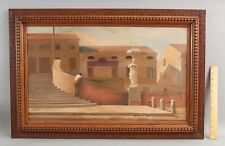 Original Modernist Oil Paintin Italy Battaglia Bridge Architectural Oil Painting