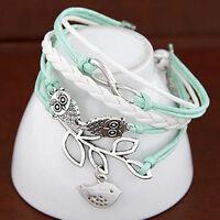 1 x Fashion Armband Leder Wickelarmband Vintage Armkette-Lederarmband