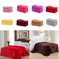EG_ Soft Solid Color Thickened Warm Flannel Blanket Sofa Bedroom Throw Rug Cheap