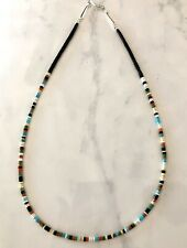 Santo Domingo Jet Turquoise Coral Sterling Necklace - Dorene Calabaza 20""