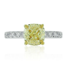 Platinum 2.01ct Cushion Fancy Yellow Diamond Engagement Ring