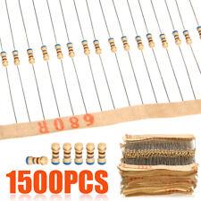 1500pcs 1/4W 75Values Carbon Film Resistor Assorted kit Set (1 ohm ~ 10M ohm) 5%