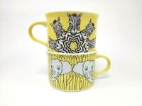 Set of 2 Franci Villa Vanilla Palm Beach Mug Cup Taste Setter Elephants Zebras