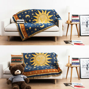 Sun Moon Planet Pattern Cotton Woven Throw Blanket Different Sides Blue Tapestry