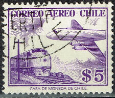 Chile Aircraft over Railroad Train stamp 1946