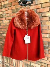 Herno Fur Collar Wool Blend Coat Orange Small 4US 40IT NWT MSRP $1305