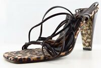 Donald J Pliner Gladiator Brown Leather Women Shoes Size 8 Medium (B, M)