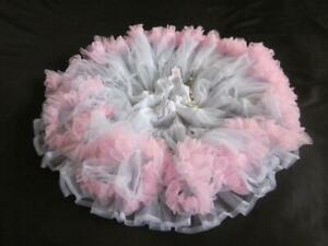 """Womens Chiffon Petticoat 2 Layers White/Pink XL/XXL Fluffy 260"""" Hem Sexy Tutu"""