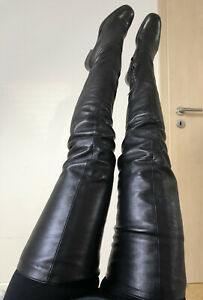Authentic PRADA Crotch High Over Knee Boots 38