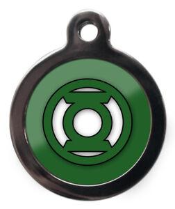 Pet ID Tag Superhero GREEN LANTERN Tag personalised 26mm or 32mm