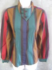 "Vintage 80's Cheryl Tiegs Blouse Size 10 Striped High Neckline ""New Wave"" Top"