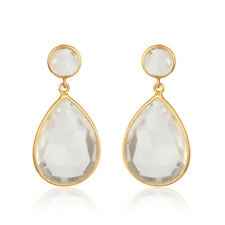 Crystal Quartz Gemstone Dangle Earrings 925 Silver Gold Plated Designer Jewelry