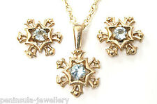 9ct Gold Blue Topaz Snowflake Pendant Necklace Earring set Gift Boxed Made in UK