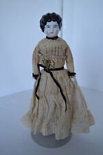 "Beautiful German Antique 12"" China Head Doll Black Curled Hair Beige lace Dress"