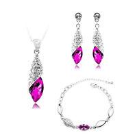 Jewellery Set Rose Fuchsia Pink Crystal Teardrop Earrings Necklace Bracelet S585