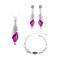 Jewellery Set Rose Fuchsia Pink Crystal Teardrop Earrings Necklace Bracelet S585