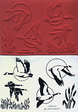 unmounted rubber stamps Geese flying over marsh grass collection  6 images