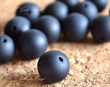 5 Beads of Natural Black Onyx Matte Round Beads 10mm Gemstone Crystal DIY