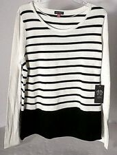 $89 NWT VINCE CAMUTO WOMENS STRIPED SWEATER IN BLACK/CREAM SIZE XL