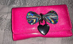 Claire's Neon Pink Glitter Bow Heart Wallet Purse Nwt Easter Birthday