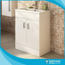Gloss White Vanity Unit Basin Sink Bathroom Cabinet 600mm