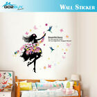 Wall Stickers Removable Fairy Dance Girl Butterfly Kid Mural Room Decal Romantic