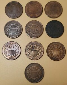 Lot Of 10 US 2 Cent Pieces
