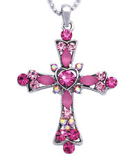 Christian Catholic Pink Crystal Heart Cross Pendant Necklace Jewelry n2004p