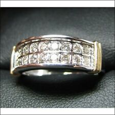 Wedding Band white and yellow gold Estate sale Beautiful Unique 2 Row Diamond