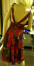 MOSCHINO SILK DRESS FIT & FLARE RED MULTI ABSTRACT GEOMETRIC PRINT 4