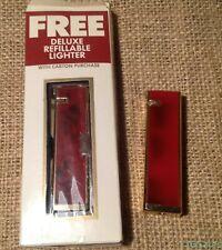 TWO Vtg Jehvani Gold Tone & Red Butane Cigarette Lighters Lark L&M Chesterfield