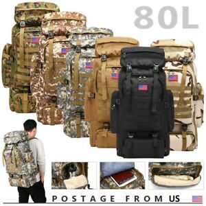 80L Outdoor Military Molle Tactical Backpack Rucksack Camping Hiking Travel Bag