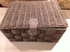 Medium Grey Paper Rope Rectangular Lidded Storage Basket Hamper