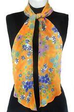 Skinny Scarf Belt Tie Hatband- Meadow Flowers on Orange 3218