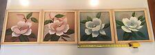 """Set Of 4 Vintage Art Deco Signed & Framed Paintings - Florals - 13.5""""x13.5"""""""