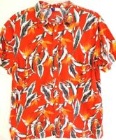 Divided H&M-Mens Hawaiian Shirt, Extra Large-XL, Red Floral Pattern-100% Cotton