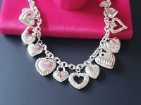 Mint ITALY Vintage Sterling Silver Loaded 12 Puffy Heart Love Charm Bracelet 6.5