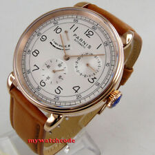 42mm PARNIS white dial power reserve rose golden case date automatic mens watch