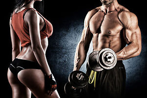 STUNNING SEXY FITNESS COUPLE GYM DUMBBELLS #783 CANVAS PICTURE WALL ART A1