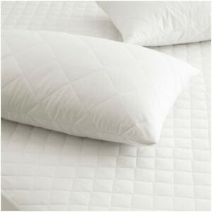 Luxury 100% Cotton Hotel Quality White Quilted Zipper Pillow Protectors Pair