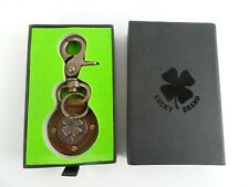 Lucky Brand Leather Key Chain/Ring With Brass Clover Leaf NIB