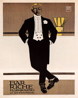 POSTER BAR RICHE ELEGANT MAN NIGTH OUT FASHION VINTAGE REPRO FREE S/H