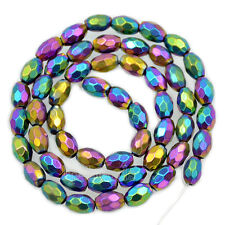 "5x8mm Tube Natural Magnetic Faceted Hematite Gemstones Beads 15.5"" Metallic"