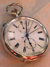 Longines Rattrapante Chronograph Pocket watch open face silver case enamel dial
