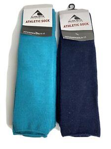 Augusta Sportswear Athletic Socks Intermediate 8-11 Teal Green And Navy 2 Pair